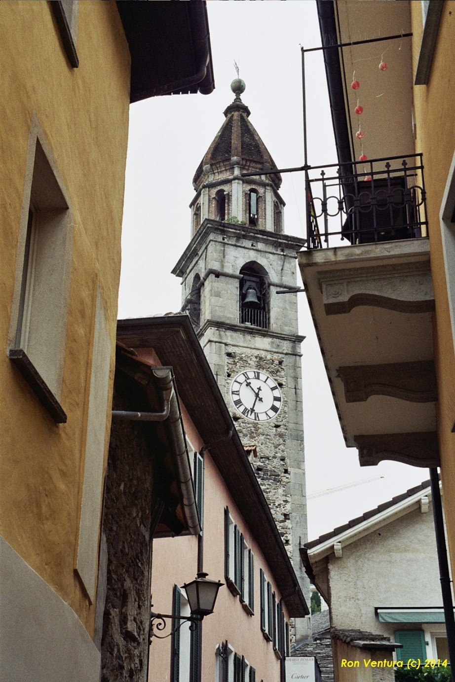 Rising Above an Alley: The Clock Tower of Ascona