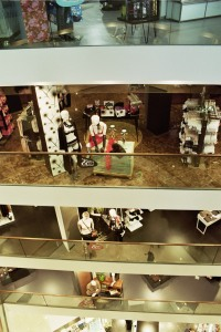 View over terraces in a multi-storey department store