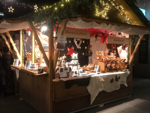 A Stall in Christmas Market near Globus